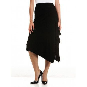 Mela Purdie Drape Skirt This jersey skirt is crafted with ample stretch for comfort and ease of movement. Featuring a flattering asymmetric drape and comfort fit elastic waist, team yours with any Mela essential top and soft structured jacket for edgy elegance.  #melapurdie  #redworks