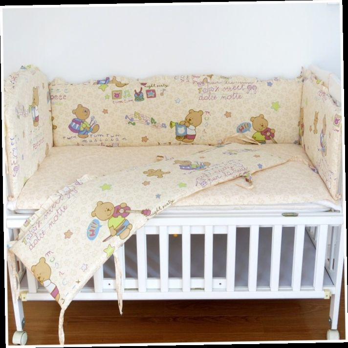42.80$  Buy here - http://ali6o8.worldwells.pw/go.php?t=32381696114 - Promotion! 6pcs Bear Baby bedding bed around pillow Baby cot bedding kit bed set (bumpers+sheet+pillow cover)