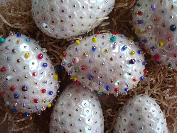 Colorful eggs Easter DecorationsBeaded Decorative by Valelval
