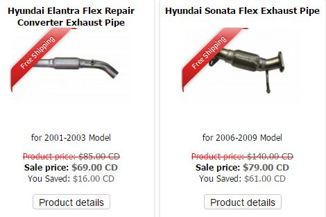 Aftermarket Hyundai Exhaust Pipes are available at low prices. The top leading Muffler & exhaust pipe stores offer discounted sales also. Muffler Express, Toronto is known widely for offering widest range of aftermarket Hyundai Exhaust Pipes for any model and make as like Hyundai Exhaust Pipes, Hyundai Exhaust Pipe Manufacturer, Hyundai Elantra Flex Repair Converter Exhaust Pipe etc.