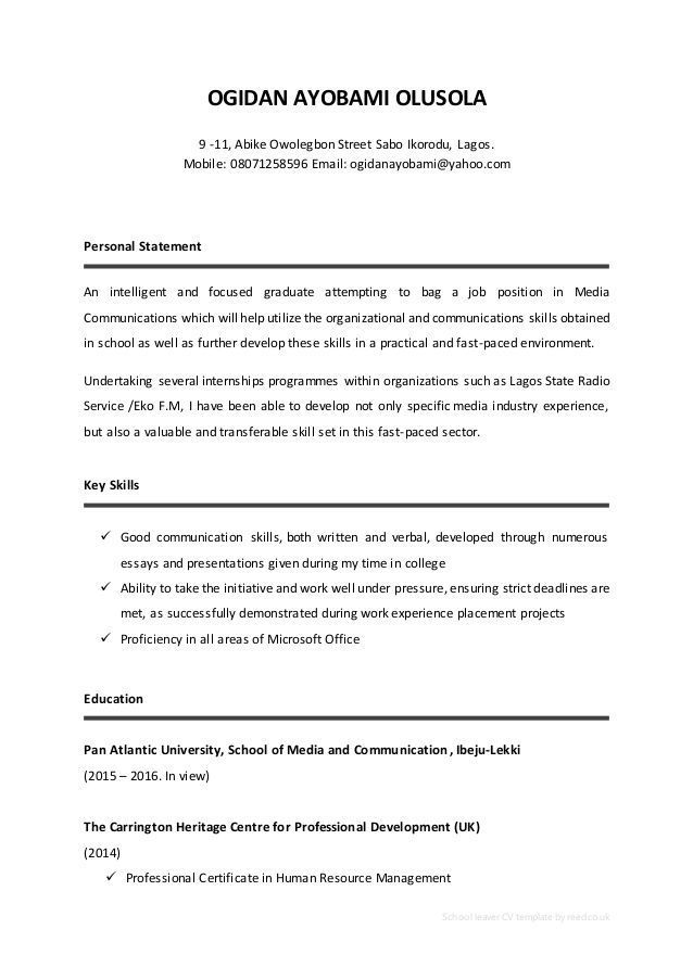 Cv Template School Leaver Cvtemplate Basic Leavers Film And Television Studie Personal Statement