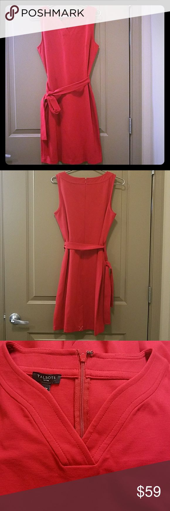 Talbots Belted Sleeveless Red Dress Petite Brand new with tags Talbots red dress with belt, sleevess. Dress is 35 inches laid flat. Talbots Dresses Midi