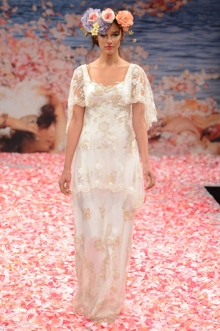 Claire Pettibone – Bridal Fall 2013    TAGS:Embroidered, Floor-length, Short sleeves, White, Cream, Ivory, Claire Pettibone, Lace, Silk, Tulle, Retro (Vintage), Romantic
