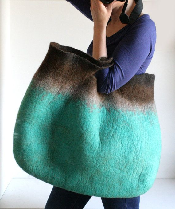 EXTRA LARGE Teal Brown Sturdy Everyday Art Bag / Carryall / Tote / Basket / Shopping / Market / Picnic / Hand felted wool / Wearable Art