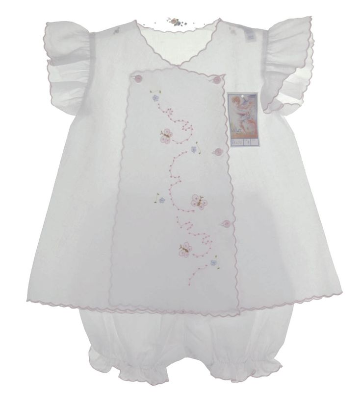 NEW Willbeth White Diaper Set with Angel Sleeves and Butterfly Embroidery