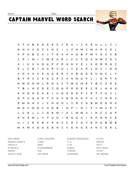 Captain Marvel Word Search Summer