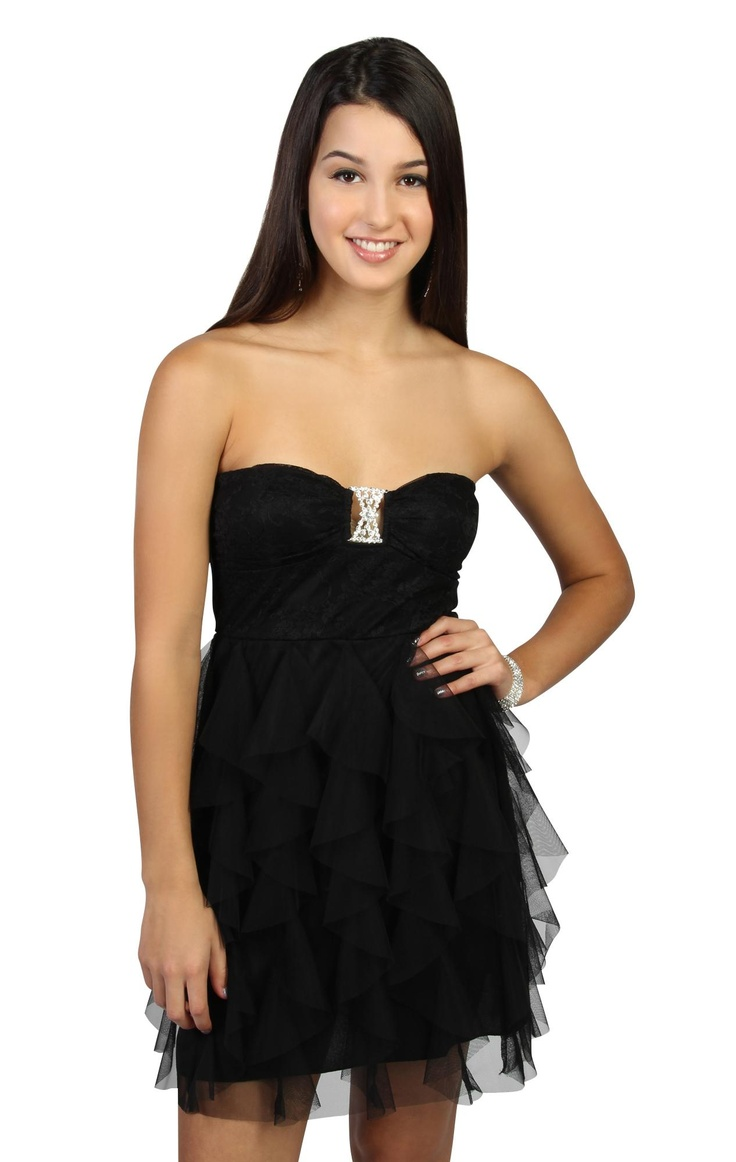 strapless black lace party dress with cascade tendril skirt  $62.50