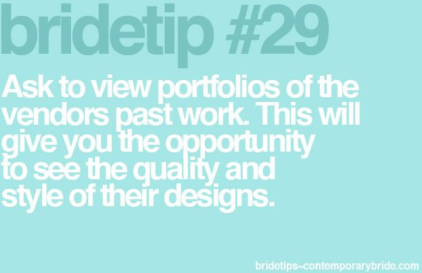 Bride Tip #29 - view vendor portfolios!