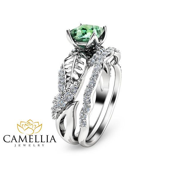 Princess Tourmaline Engagement Ring Set 14K by CamelliaJewelry