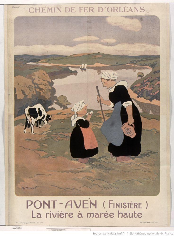 Chemins de fer d'Orléans. Pont-Aven (Finistère). La rivière à marée haute : [affiche] / [Georges Meunier]