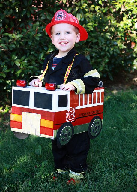 how to make a fire truck from a box