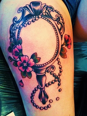 mirror tattoo, I would want to add some blue/gray streaks to make it look like mirror glass though