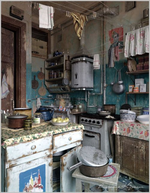 Reminds me a little of my great grandma's house. creativehouses: Abandoned soviet kitchen from the 1970s.