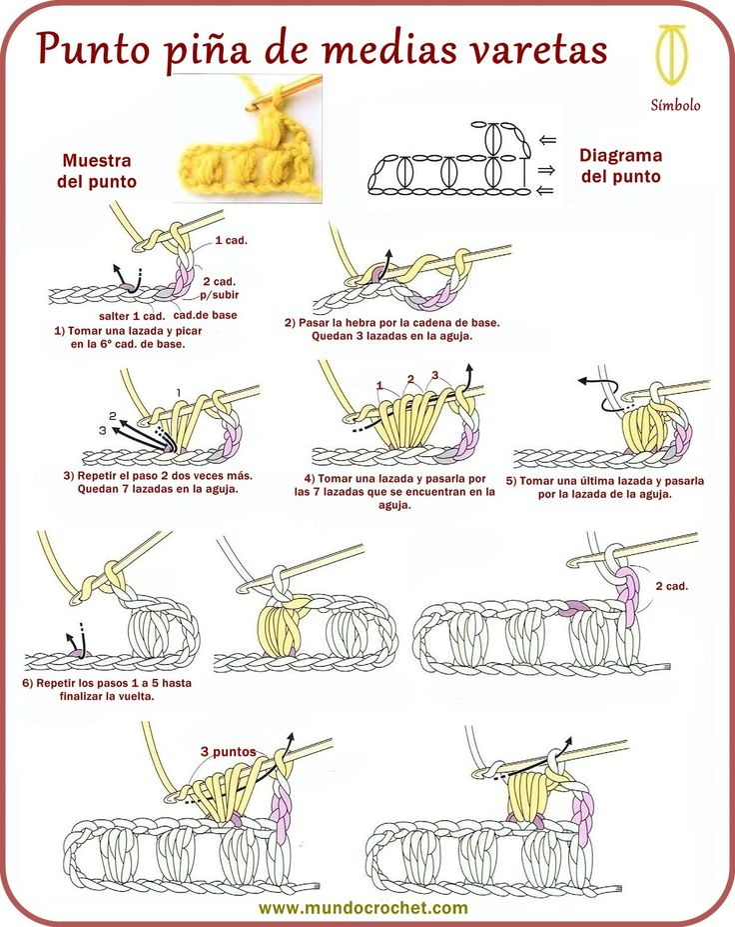 Punto piña de medias varetas, garbanzo, madroño - Ponto pipoca - Puff stitch - вязание крючком пунктов