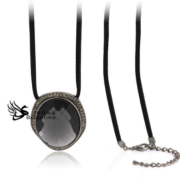 Серый горный хрусталь ювелирные изделия с нейлон шнурок для ожерелья, Ожерелья для подарки, Большие горный хрусталь ожерелье