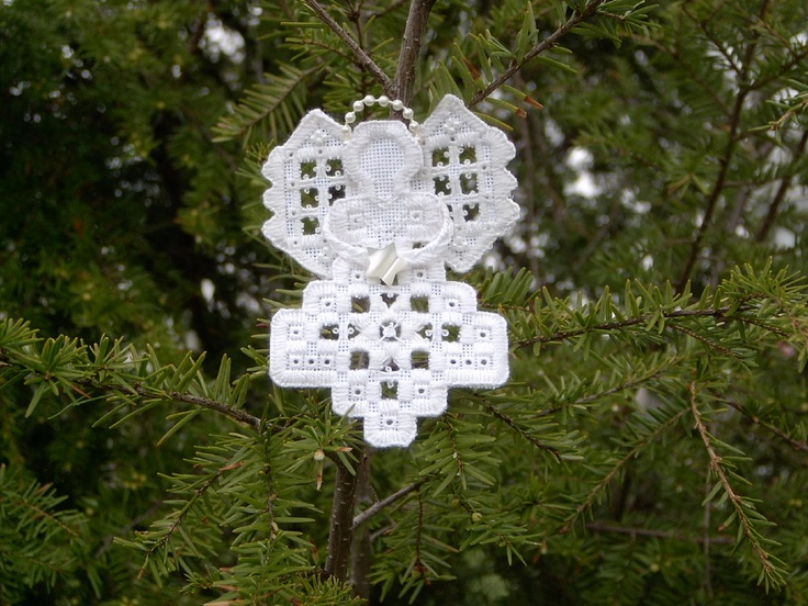 Angel Hardanger ornament uses Kreinik silk threads. Free project to download from Kreinik web site.