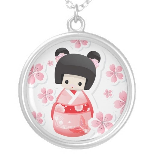 Japanese Geisha Doll - kokeshi Necklace