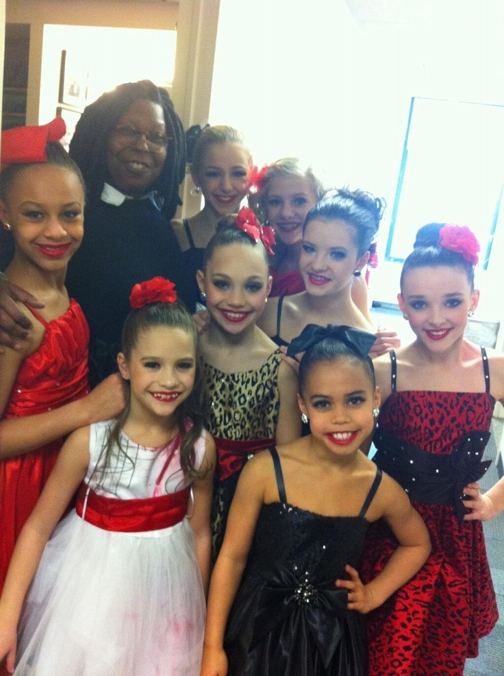whoopi goldberg with the cast of Dance Moms after performing 'The Last Text' on The View