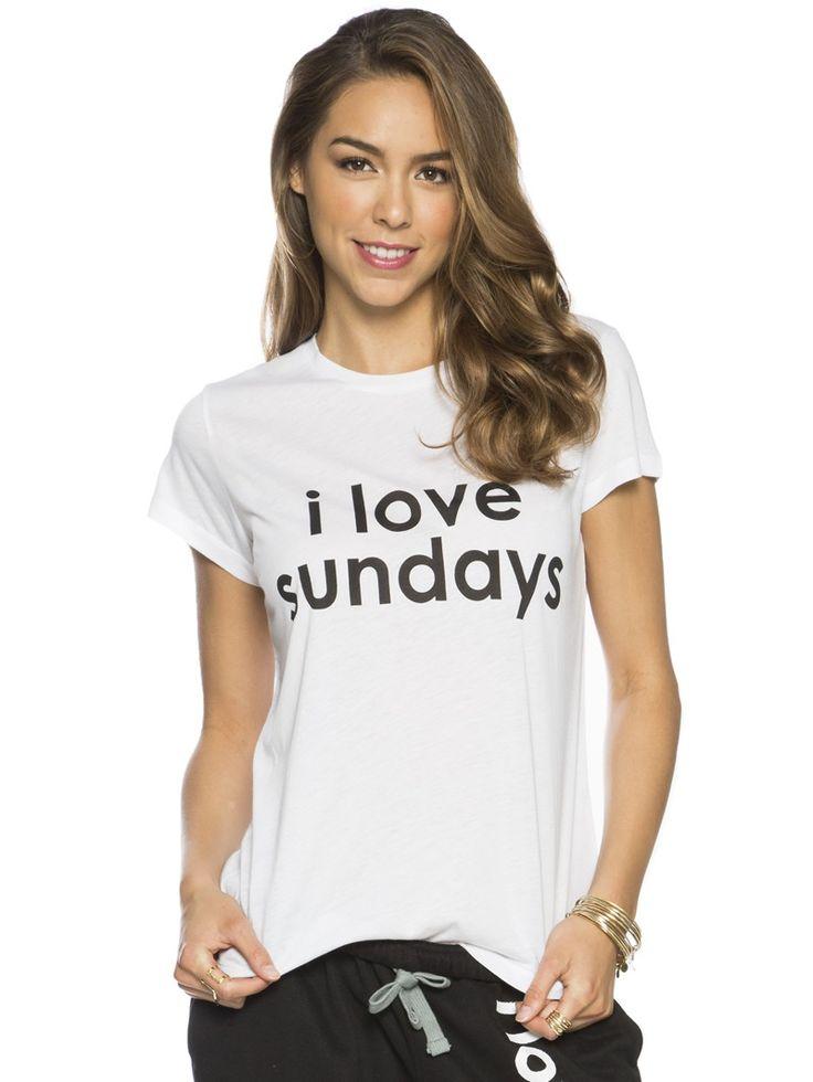 From Peaceloveworld Com  C B I Love Sundays Love Life White Crew Neck Tee