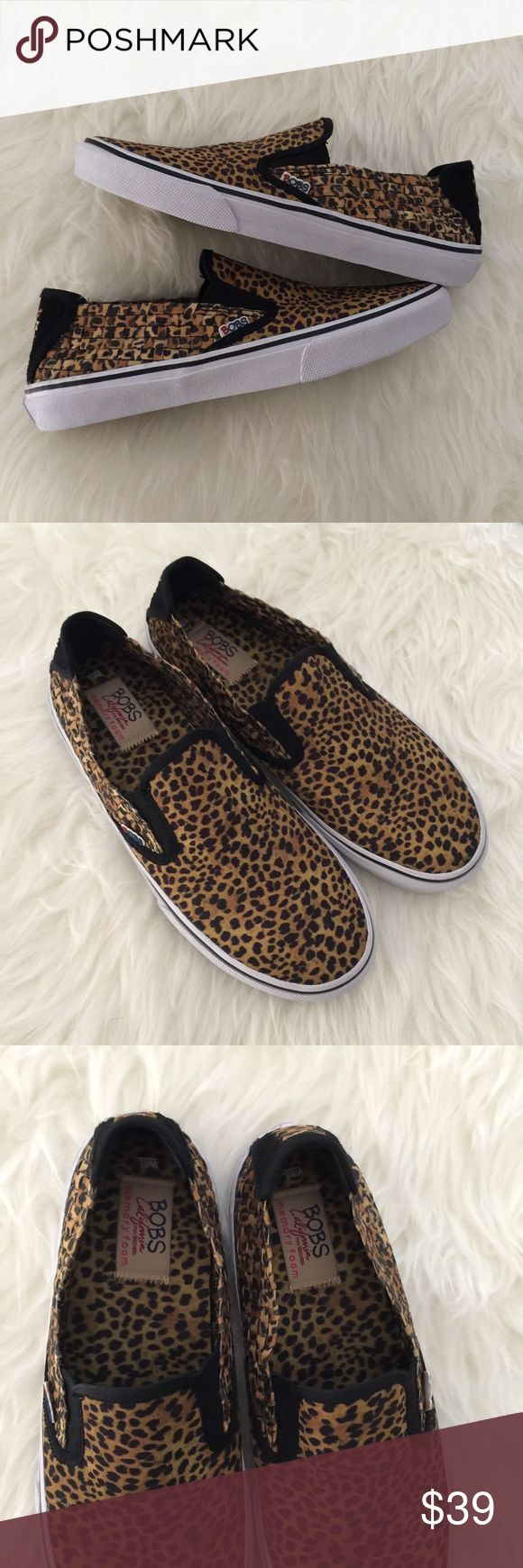 Bobs cheetah leopard slip on weaved shoes Skechers New, never worn size 8.5 cheetah/leopard print shoes. Memory foam, weaved material. Very comfortable and easy to wear. Please review photos for details. Some minor dirt spots from the store/storage. No trades Skechers Shoes