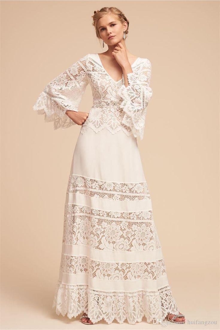 2018 Plus Size BHLDN Wedding Dresses Lace Bell Sleeve Country V Neck Bohemian Wedding Dress Full Length Chiffon Beach Bridal Gown