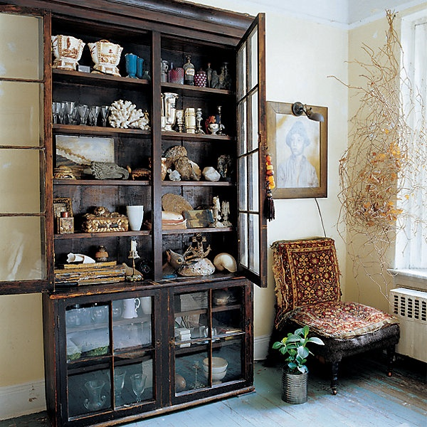 John Derian's Lower East Side ApartmentCabinets Of Curio, Elle Decor, Display Cabinets, Collection Display, Old Windows, Corner Cabinets, John Derian, Cabinet Of Curiosities, Beach Life