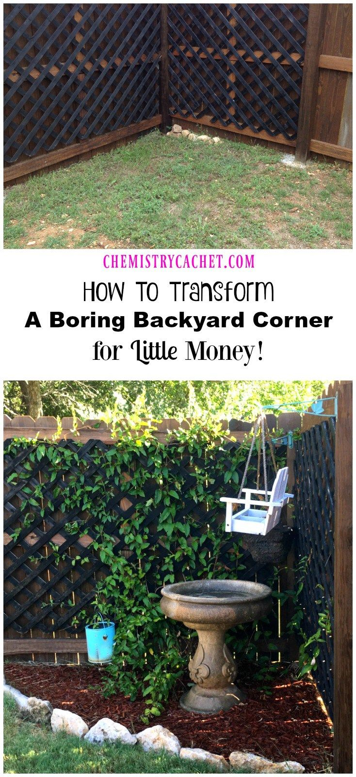 How To Transform A Boring Backyard Corner for LITTLE money! Turn any corner of your yard into a pretty little garden! on chemistrycachet.com