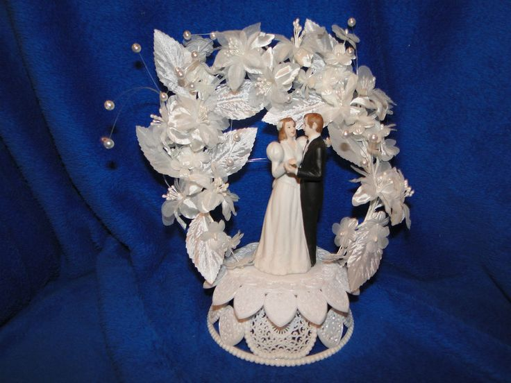 NEW VINTAGE WILTON ORCHID CASCADE WEDDING CAKE TOPPER 117-7334 WITH BLACK SUIT #Wedding #CakeToppers