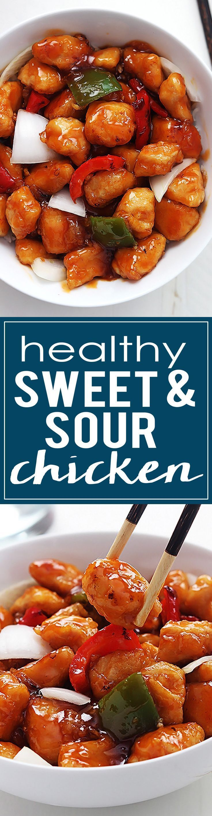 This Healthy Sweet & Sour Chicken is NOT deep fried and still has that crispy texture and amazing flavor you love!