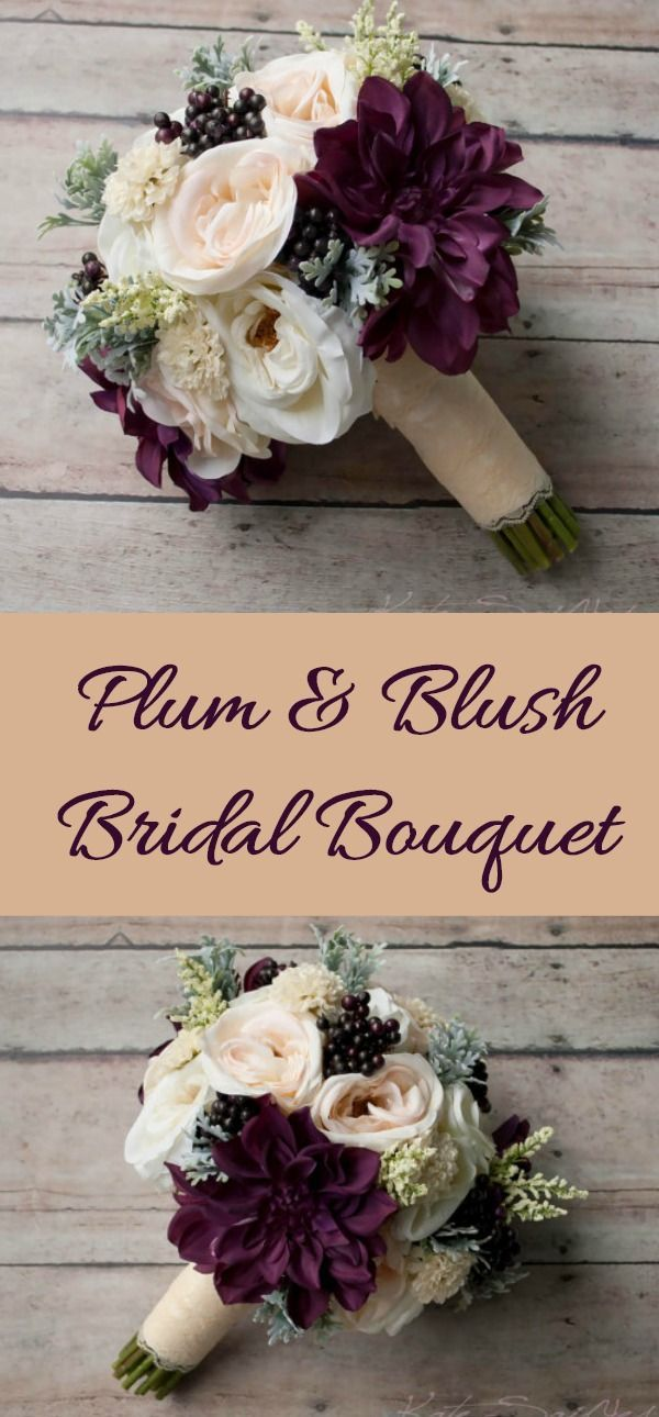 This rustic bouquet is arranged with blush and ivory garden roses and dahlias, with larger pops of plum dahlias, accented with soft green dusty miller and deep purple berries. This wedding bouquet is wrapped in ivory satin and lace, but can be customized to coordinate with your wedding colors. This silk bouquet measures 10 inches wide and 12 inches tall.#ad #etsy #wedding #flowers #bridalbouquet