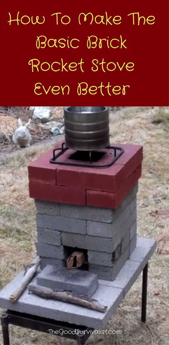 A couple of interesting improvements in the basic brick rocket stove is a higher chimney, combined with the better venting system. You'll also find out about the safety of using concrete bricks in construction, and about the possibility of combining regular bricks with them. Click to learn more.