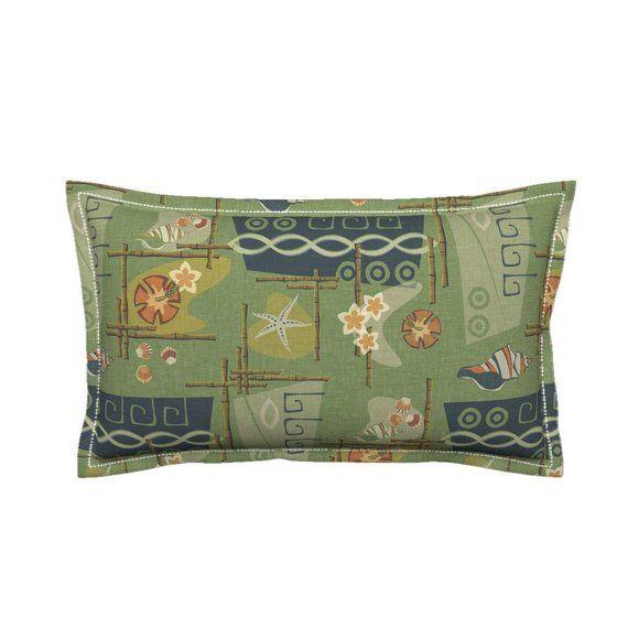 Mid Century Pillow Sham Aloha 1960/'s Green by thecalvarium Tiki Hawaii Tropical Island Cotton Sateen Pillow Sham Bedding by Spoonflower