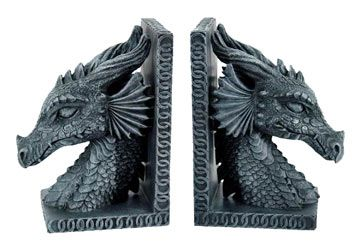 Neck-to-Head Dragon Bookends