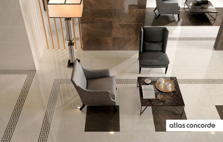#MARVEL champagne and bronze | #Greca | #Floor design | #AtlasConcorde | #Tiles | #Ceramic | #PorcelainTiles