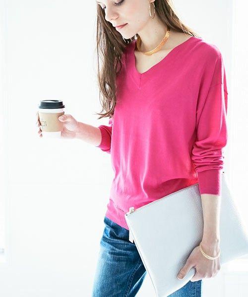 Loungedress(ラウンジドレス)の「ハイゲージVネックニット(ニット/セーター)」|ピンク