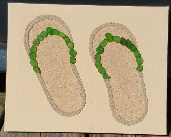 Seaglass Flip Flops by SeaglassArtNS on Etsy  Genuine Green Nova Scotia Seaglass. #flipflops #novascotia #decore #homedecore