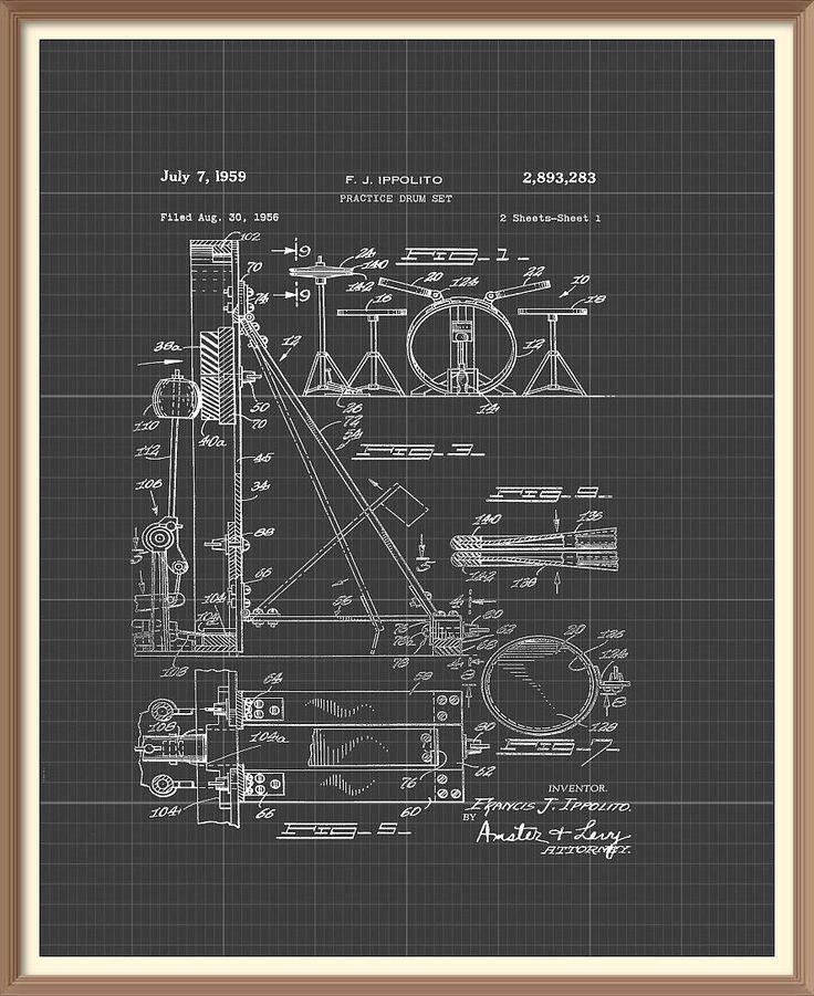 The 33 best musical instruments patent prints images on pinterest vintage drum kit patent print 1959 set on a vintage grey blueprint background instant download malvernweather Gallery