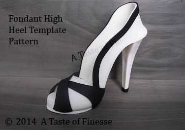 Instant Download Template Pattern Fondant High Heel Shoe Cake