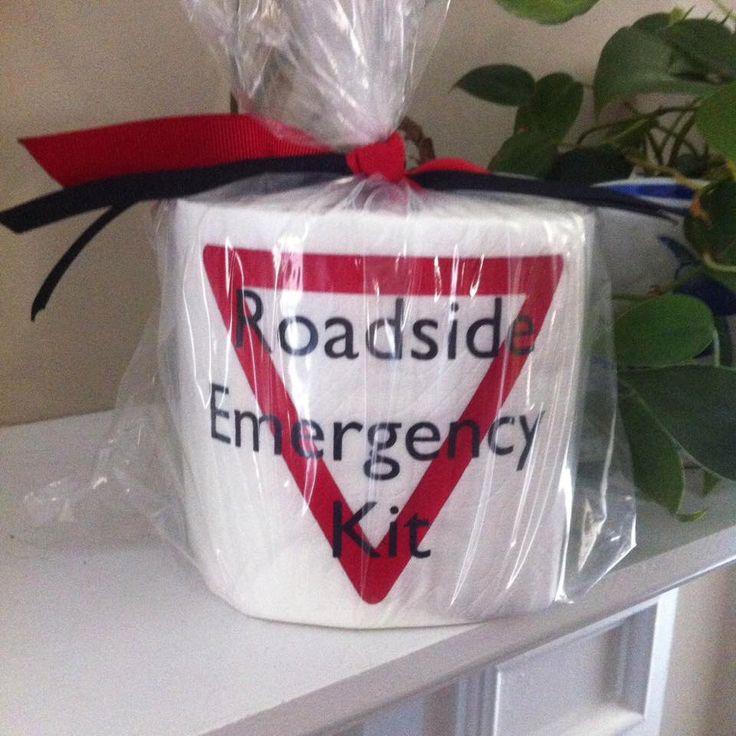 Roadside Emergency Kit Toilet Paper Roll - Humor - Gag Gift by GGWDesigns on Etsy https://www.etsy.com/listing/228261513/roadside-emergency-kit-toilet-paper-roll