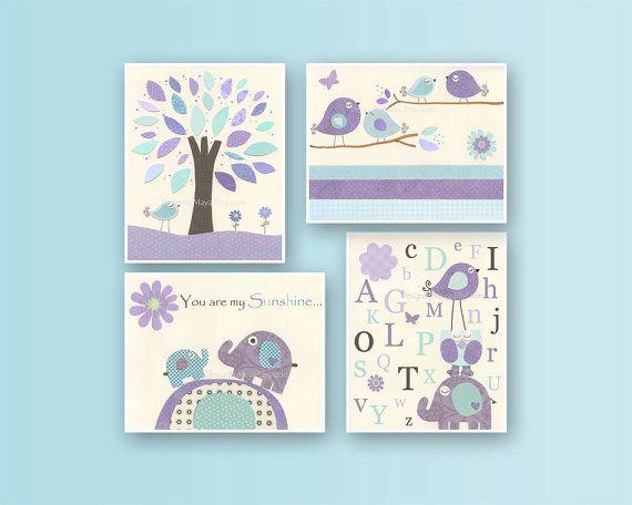 Baby girl Room Decor Nursery art print Set of 4 by DesignByMaya, $65.00