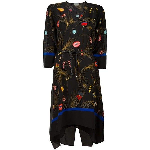 Fendi floral print kaftan dress (30 195 UAH) ❤ liked on Polyvore featuring dresses, v-neck dresses, floral dresses, knot dress, silk dress and flower print dress