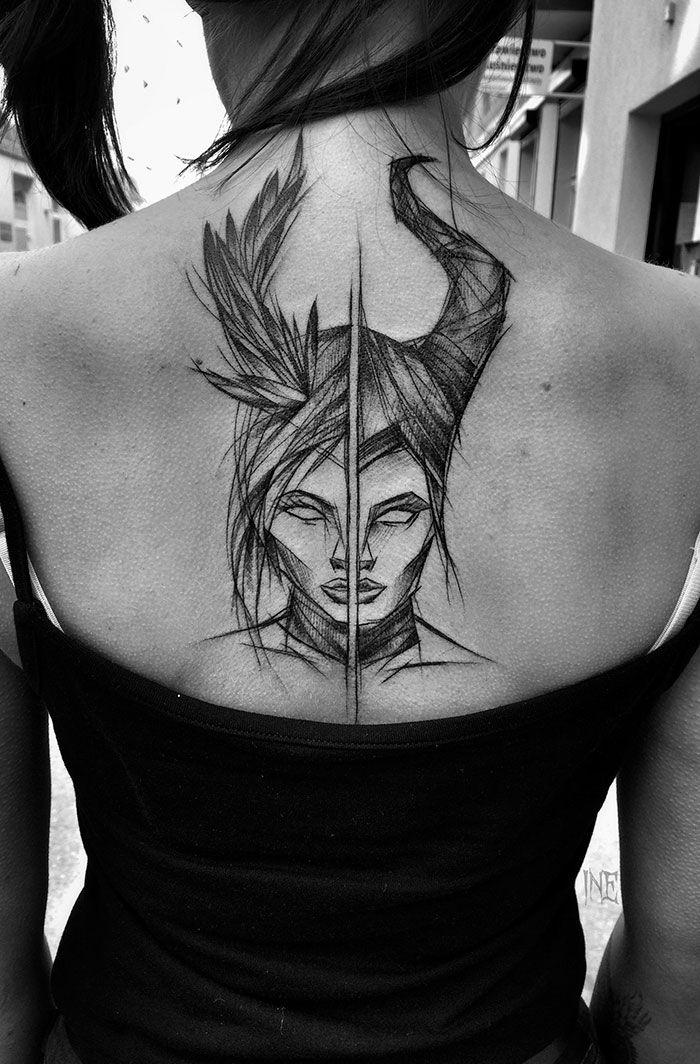 Les tatouages en forme desquisse de Inez Janiak  2Tout2Rien                                                                                                                                                                                 Plus