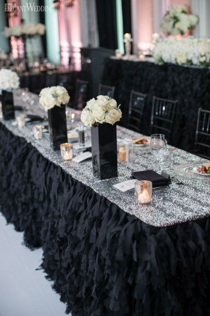 Luxurious and glamourous black wedding table setting, black wedding decor, black head table, place settings LUXURIOUS BLACK & WHITE WEDDING IN TORONTO www.elegantwedding.ca