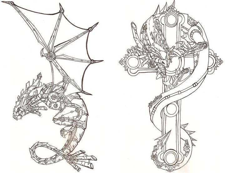 Steampunk Dragon outlines preview by ~Fachhillis on deviantART