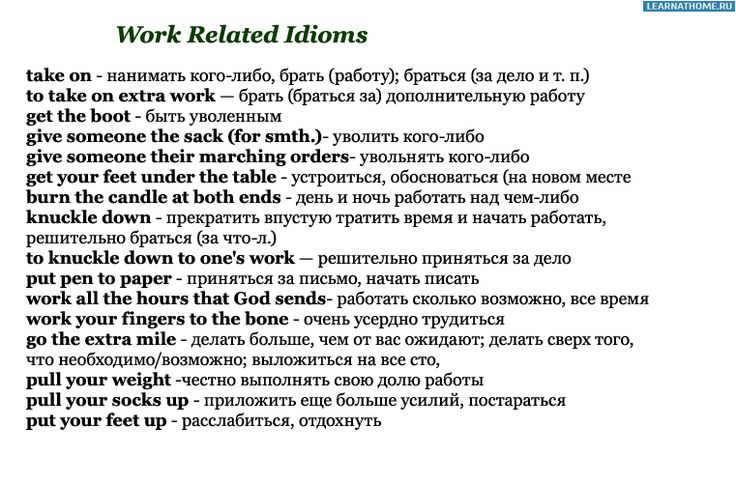 Work Related Idioms