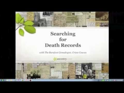 In the United States death certificates are created by county and state governments but are only available for relatively recent time periods. Join Crista Cowan as she shares with you how to discover what records exist and where to find them. If the records are online, she'll share some of the best ways to search so you can find what you are looking for.  #genealogy