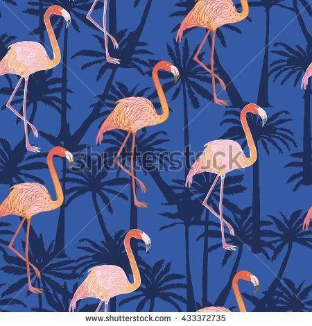 Фламинго - векторные иллюстрации - векторного