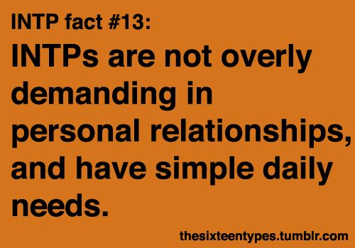 Introverted Intuitive Thinking Perceiving Personality Type MBTI - INTPs are not overly demanding in personal relationships, and have simple daily needs.