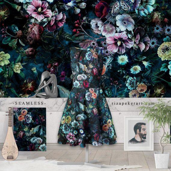 Night garden  Seamless Pattern  STOCK LICENSED by rizapekerart