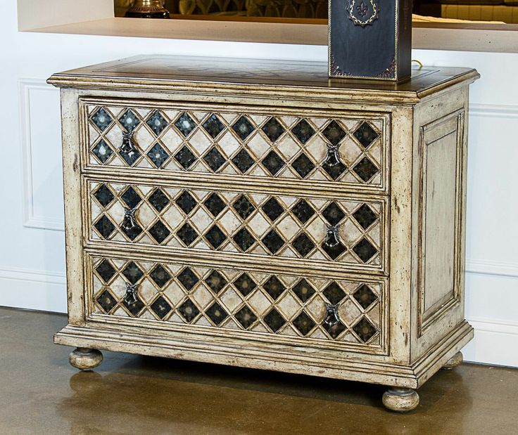 AMBELLA HOME COLLECTION - HAND RUBBED PARCHMENT 3 DRAWER MYSTIC CHEST